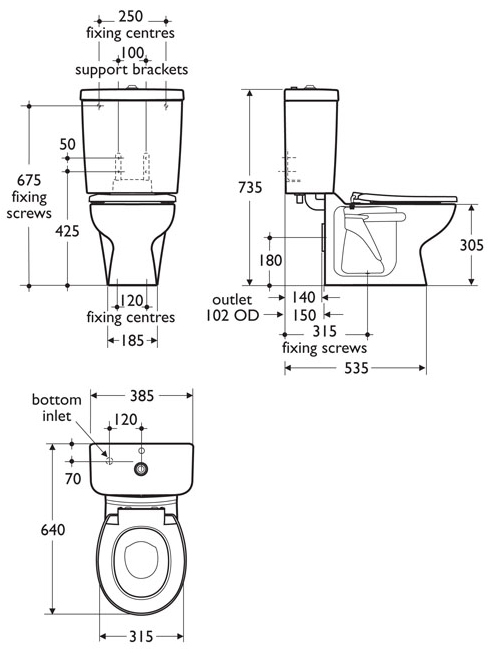 infant height close coupled toilet sizes