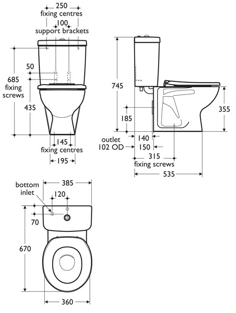 junior height close coupled toilet sizes