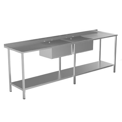 Double Bowl Double Drainer Catering Sink Unit image