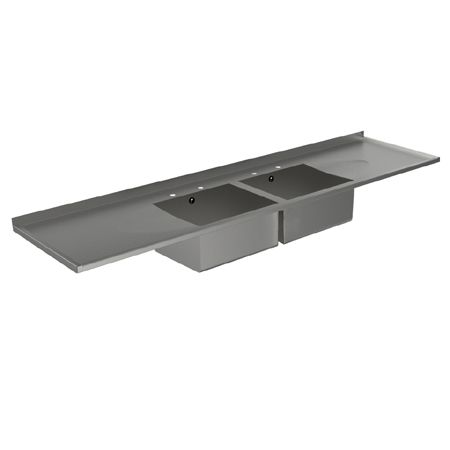 Double Bowl Double Drainer Catering Sink Tops