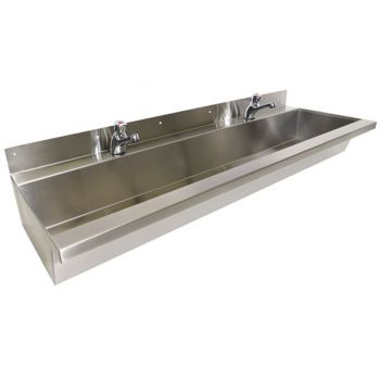 large school trough sink with timed flow taps