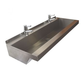 steel trough sink with lever mixer taps