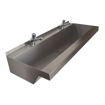 school trough sinks with time flow taps