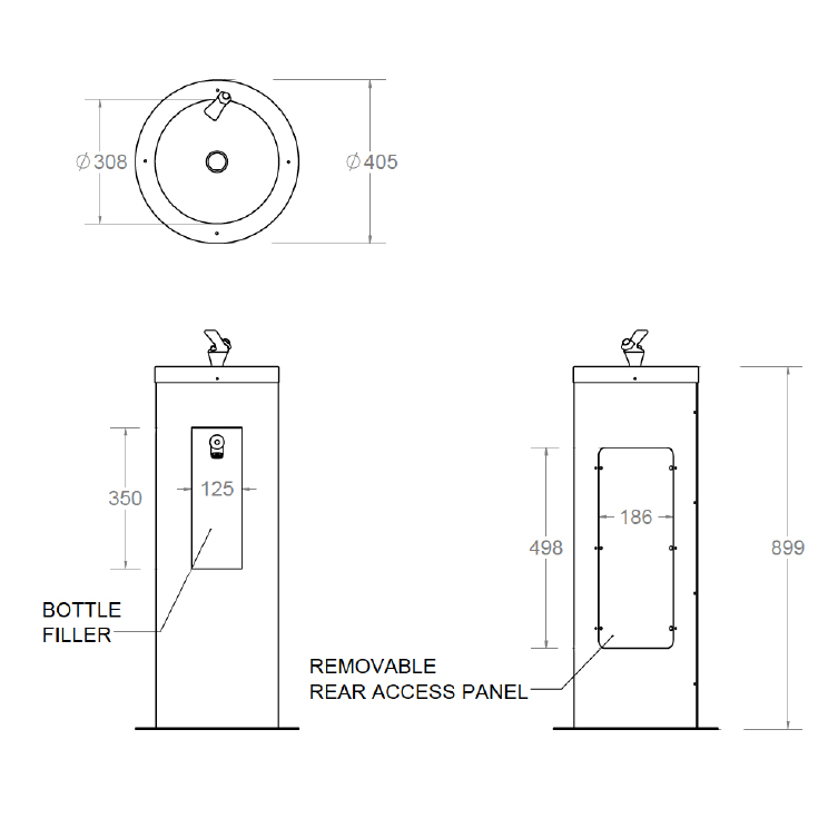 rounded combination stainless steel drinking fountain and bottle filler dimensions