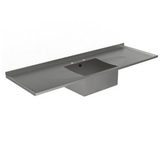 Sit On Single Bowl Double Drainer Catering Sink Top image