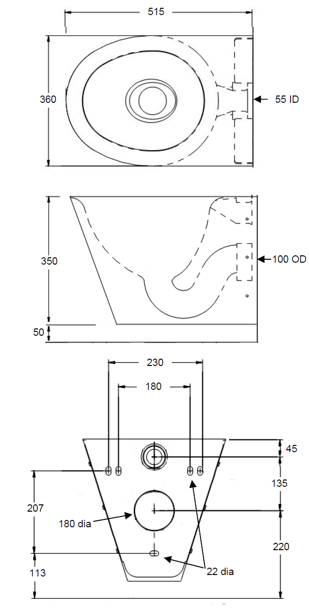 wall hung toilet dimensions