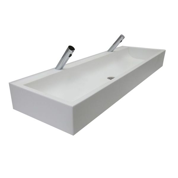 Solid Surface White Trough Sinks image