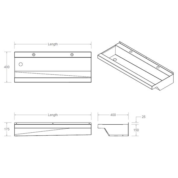 bespoke wash trough dimensions